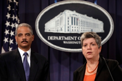 Eric Holder and Janet Napolitano hold a joint news conference as they deliver the results to date of the largest prosecution of an international criminal network organized to sexually exploit children, at the Justice Department in Washington