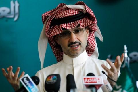 Saudi billionaire Prince Alwaleed bin Talal speaks at a news conference in Riyadh