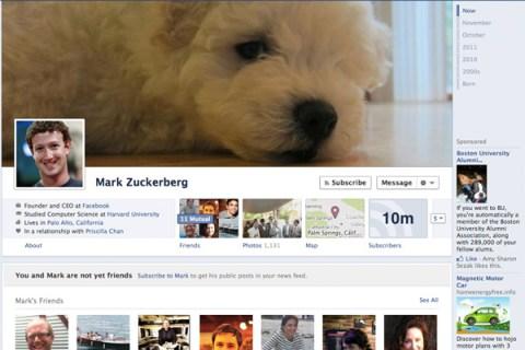 Mark Zuckerberg's Facebook profile.