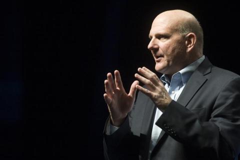 Steve Ballmer, CEO of Microsoft, speaks during the 2012 AT&T Developer Summit in Las Vegas