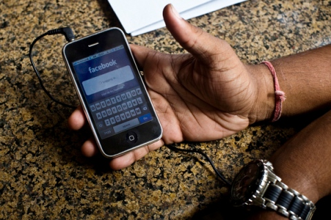 Facebook on a phone