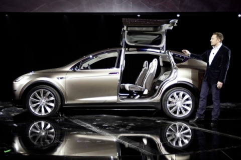 Tesla CEO and co-founder Elon Musk unveils the Tesla Motors Model X electric vehicle in Hawthorne, California
