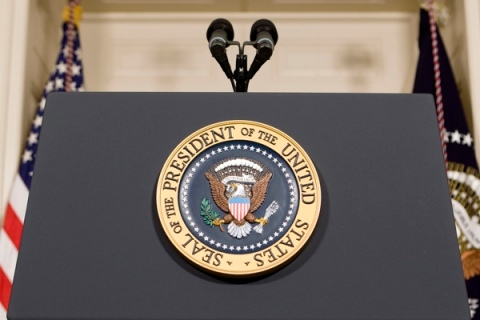 The Presidential Seal is seen on a podium at the White House in Washington