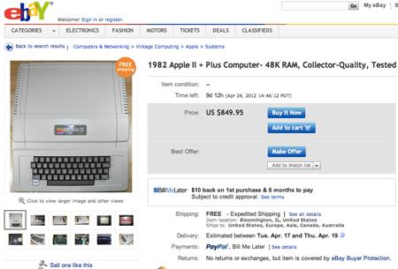 Apple II on eBay