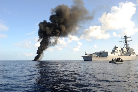 U.S. Navy Investigate Suspected Somali Pirate Skiff