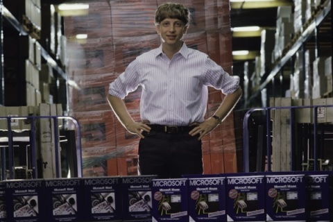 Bill Gates with Microsoft boxes