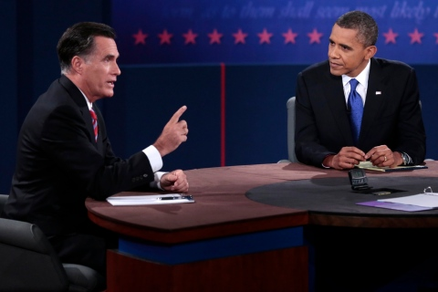U.S. Republican presidential nominee Romney makes a point as U.S. President Obama listens during the final U.S. presidential debate in Boca Raton