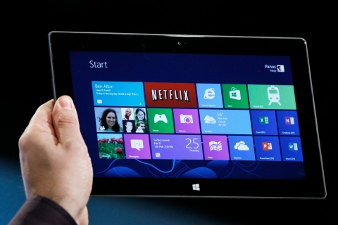 Microsoft tablet PC Surface is shown at the launch event of Windows 8 operating system in New York