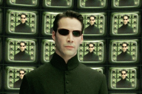 KEANU REEVES IN SCENE FROM NEW FILM THE MATRIX RELOADED.