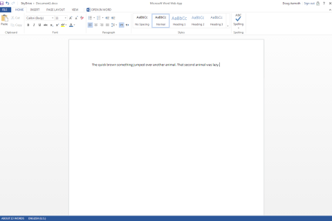 Document1.docx - Microsoft Word Web App