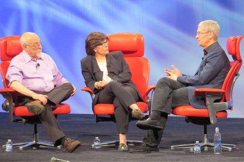 Walt Mossberg, Kara Swisher and Tim Cook