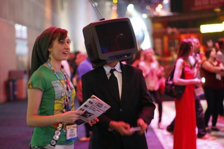 Marianne Azakin and Rodrigo Rentaria attend E3, the Electronic Entertainment Expo, in Los Angeles, California.