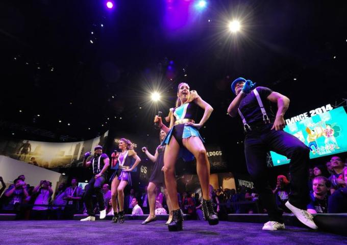 """Dancers perform at """"Just Dance 2014"""" booth during E3 in Los Angeles"""