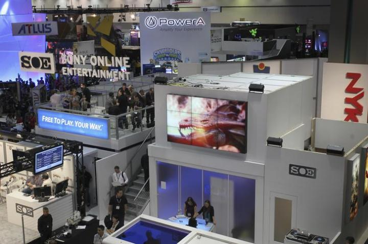 An overview of the West Hall, one of the exhibit floors at E3, the Electronic Entertainment Expo, is seen in Los Angeles