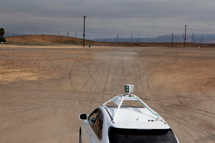 A self driving car testing its computer-controlled guidance systems.