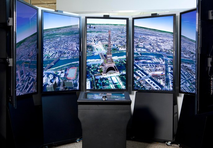 Liquid Galaxy provides an immersive Google Earth experience at Google headquarters.