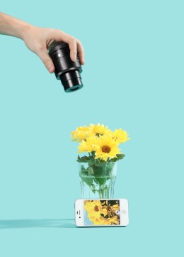 The Sony QX Smart Lens photographing a vase of yellow flowers for the 2013 best inventions package. Photo Credit: Andrew B. Myers for TIME
