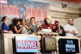 Robert Downey Jr. rings opening bell at New York Stock Exchange to promote his new movie 'Iron Man 3,'