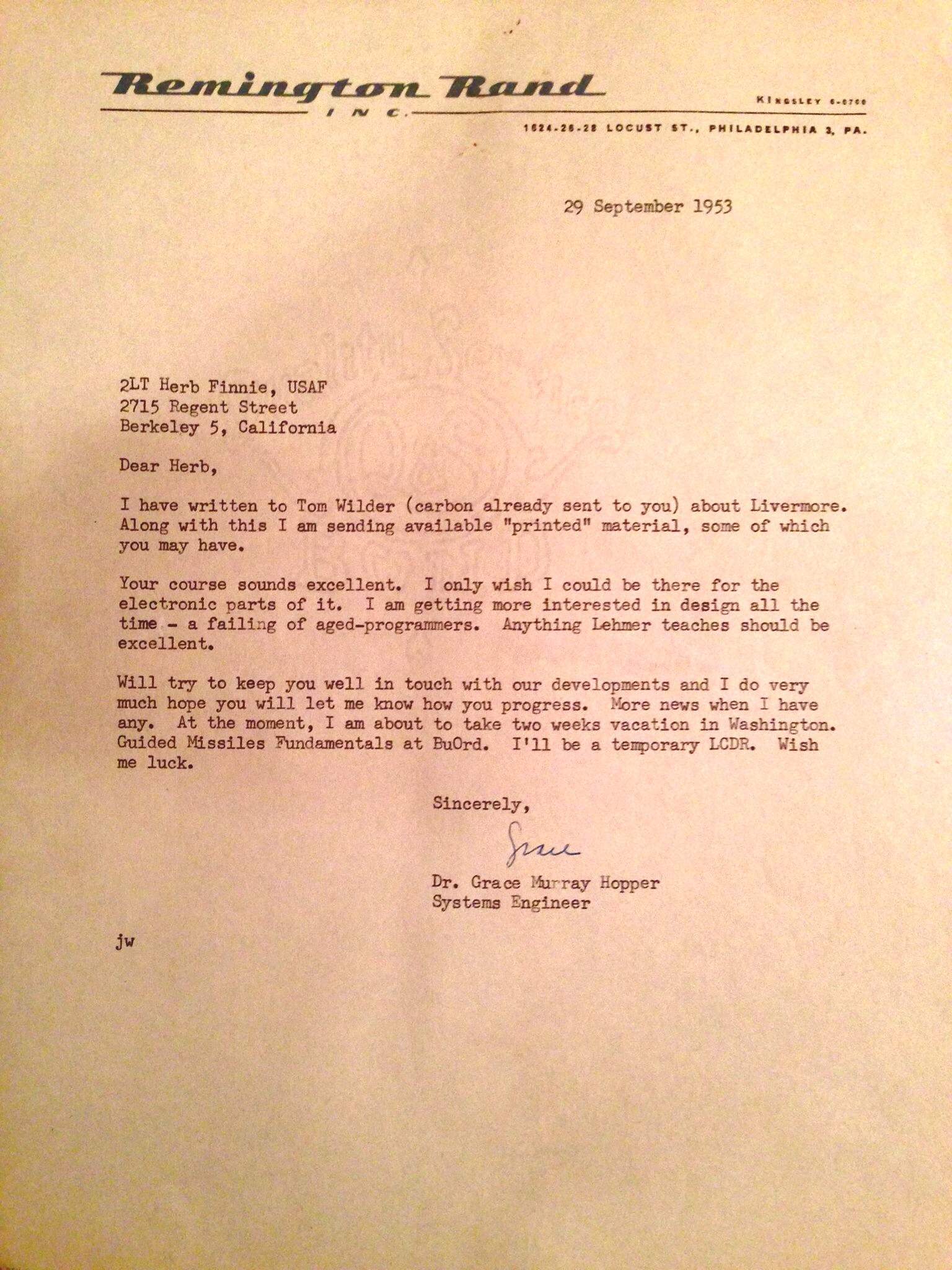 Grace Hopper letter